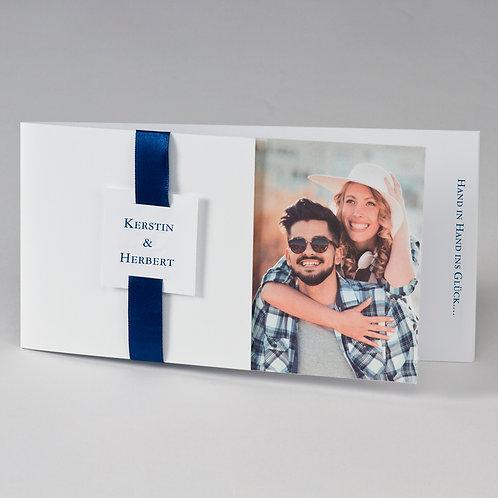 Fotohochzeitskarte mit blauem Band – Büromac