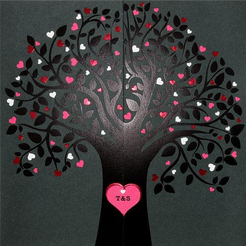 Hochzeitseinladung mit einem Baum aus Herzen – Belarto