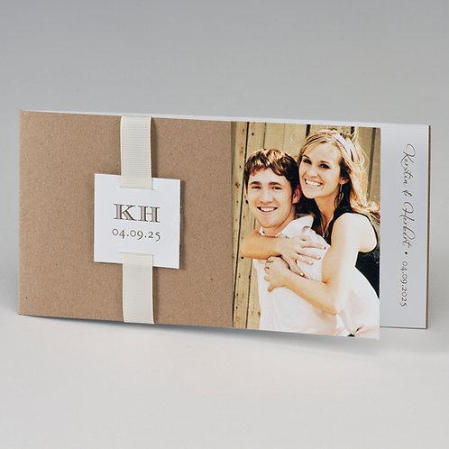 Kraftpapier Fotohochzeitskarte & beiges Band – Büromac