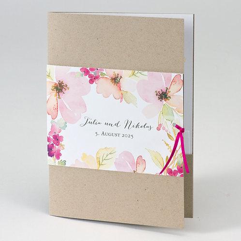 Hochzeitskarte aus Kraftpapier mit Blumenbanderole – Büromac
