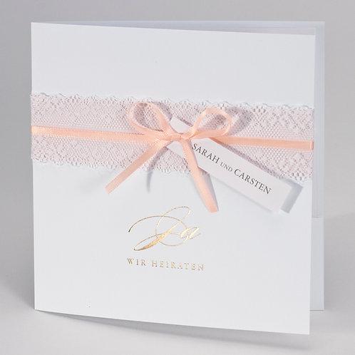Weiße Hochzeitstasche mit Spitzenbordüre in Rosa – Büromac