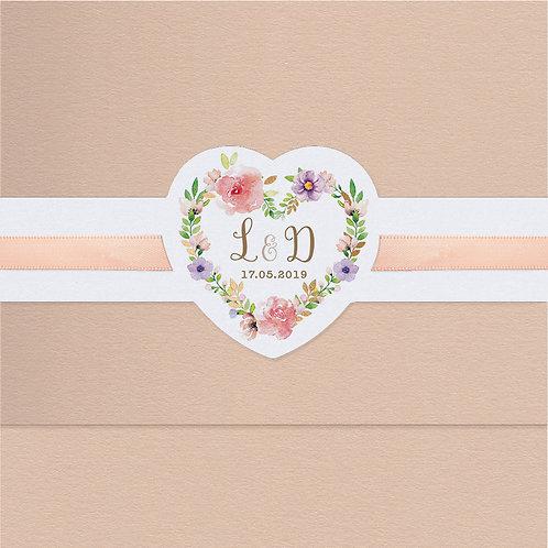 Hochzeitseinladung Blumenmotiv und Satinbändchen – Belarto