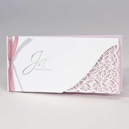 Hochzeitskarte mit Spitze Stanzung & rosa Einleger – Büromac