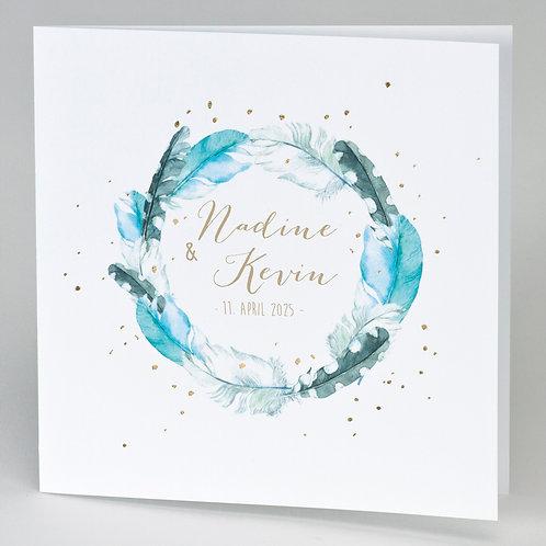 Hochzeitskarte mit Federkranz & Konfettis in Goldfolie – Büromac