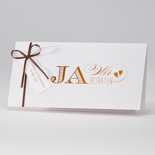 Cremefarbige Hochzeitskarte mit Textillook und Kupferfolien – Büromac