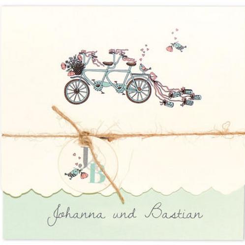 Einladungskarte mit geschmücktem Fahrrad – Fenzl