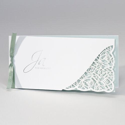 Hochzeitskarte mit Spitze Stanzung & grünem Einleger – Büromac