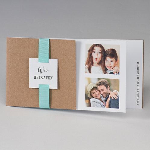 Kraftpapier Fotohochzeitskarte & mintgrünes Band – Büromac