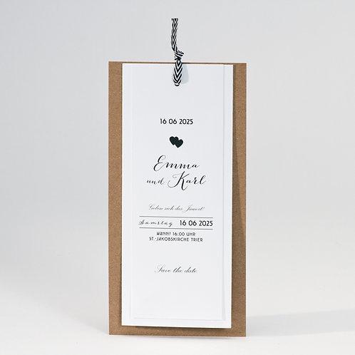 Elegante Fächerkarte zur Hochzeit aus Kraftpapier – Büromac