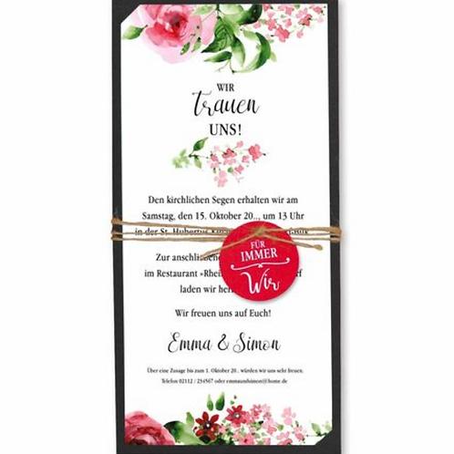Hochzeitseinladung mit Blumenrändern – Fenzl