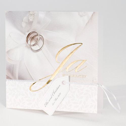 Hochzeitskarte mit Goldfolienprägung und Eheringen – Büromac