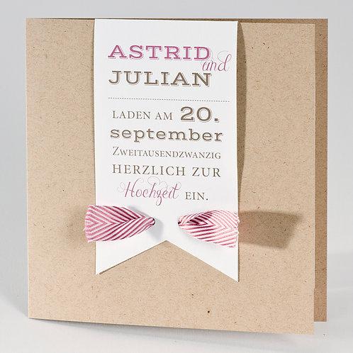 Hochzeitskarte mit weißer Fahne und gestreiftem Bändchen – Büromac