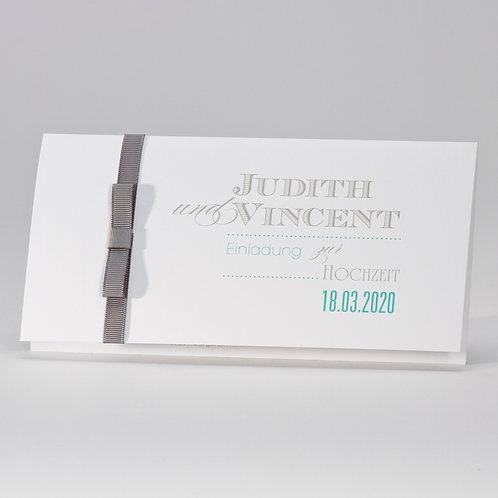 Elegante Hochzeitskarte mit grauem Bändchen – Büromac