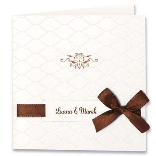 schlichte Hochzeitseinladung mit Satinband – Fenzl