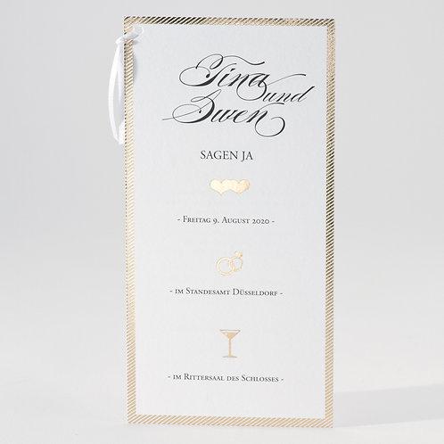 Originelle zweiteilige Hochzeitskarte mit Goldfolienprägung – Büromac