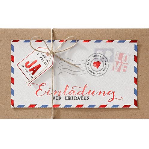 Moderne Hochzeitseinladung Luftpost – Belarto