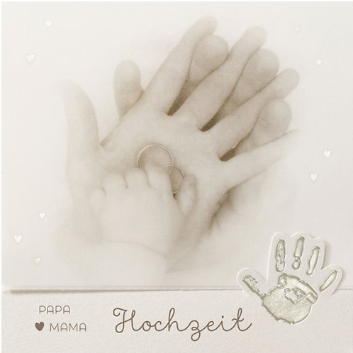 Hochzeitseinladung mit Kinderhand auf Perlmuttpapier – Belarto