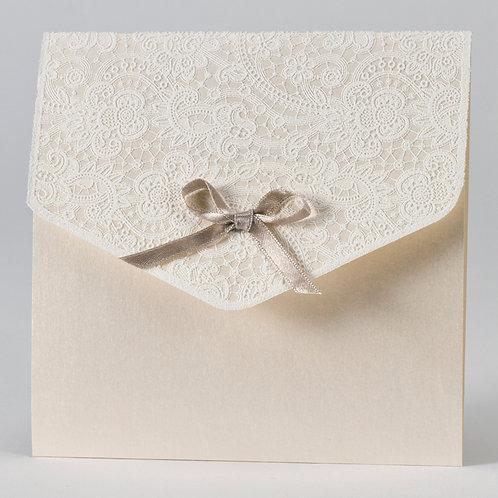 Hochzeitstasche mit Klappe aus Spitze & beigem Band – Büromac