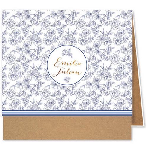 Einladungskarte auf Kraftpapier mit Blumen – Fenzl