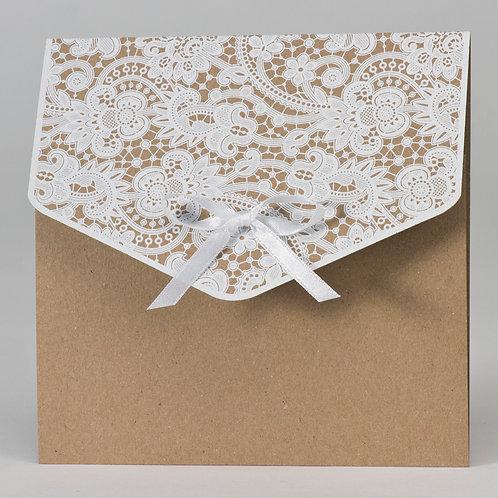 Hochzeitstasche aus Kraftpapier mit Klappe aus Spitze – Büromac