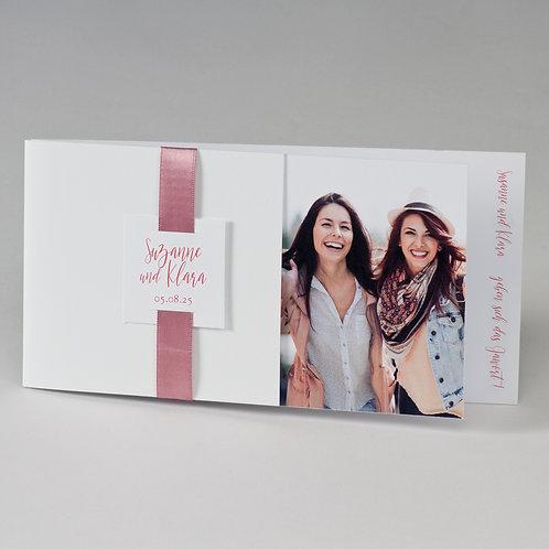 Fotohochzeitskarte mit rosafarbenem Band – Büromac