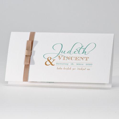 Elegante Hochzeitskarte mit braunem Bändchen – Büromac