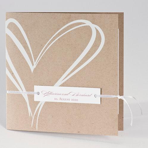 Trendy Hochzeitskarte aus  Kraftpapier mit Folienherz – Büromac
