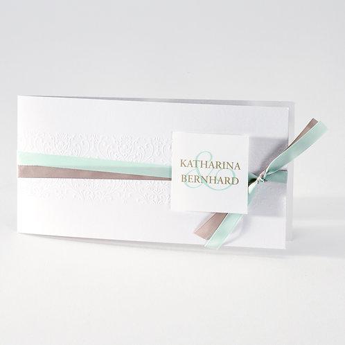 Hochzeitskarte mit Prägung und Bändchen mintgrün und braun – Büromac