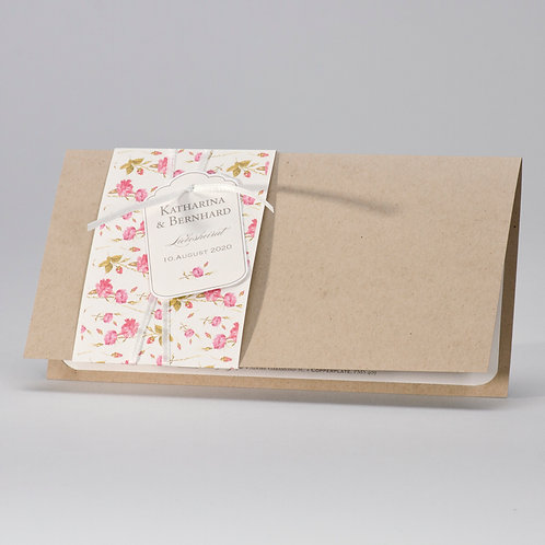 Naturbraune Hochzeitskarte mit Blumenbanderole – Büro