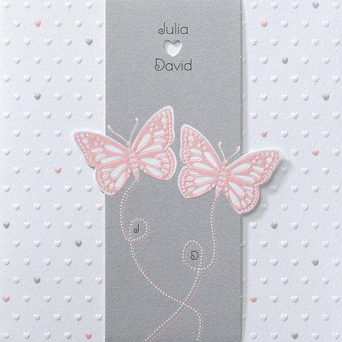 Hochzeitseinladung in Banderole mit hellrosa Schmetterlingen – Belarto