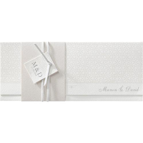 Stilvolle Hochzeitseinladung in Perlmutt-Banderole – Belarto