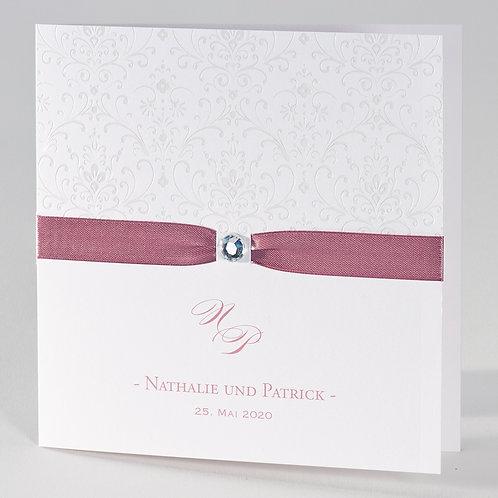 Edle weiße Karte mit Perlmuttfolienprägung und rosa Bändchen – Büromac