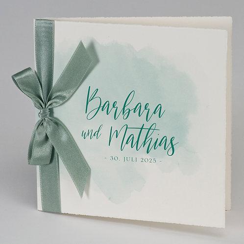 Aquarelle Büttenkarte mit grünem Band – Büromac