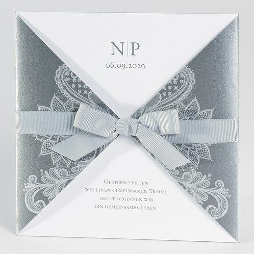 Elegante anthrazitfarbige Tasche mit silbernem Barockmotiv – Büromac