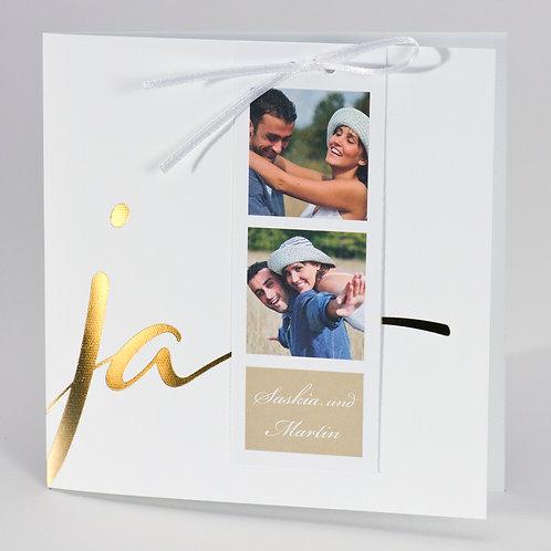 "Beige Fotohochzeitskarte mit ""Ja"" in Goldfolie – Büromac"