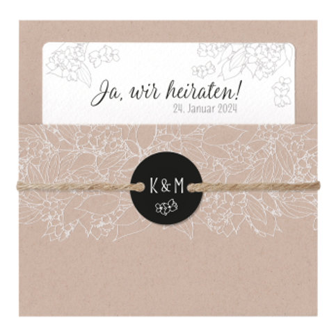Elegante Hochzeitskarte mit Kraftpapierhülle – Belarto
