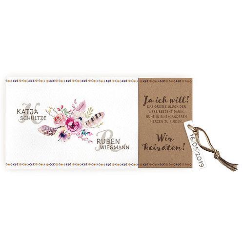 Ausziehkarte mit Blumenstrauß und dreifarbigem Strick – Belarto