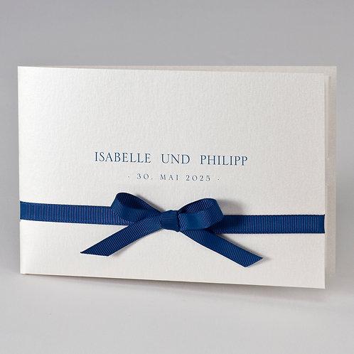 Cremefarbige Hochzeitstasche mit blauem Band – Büromac