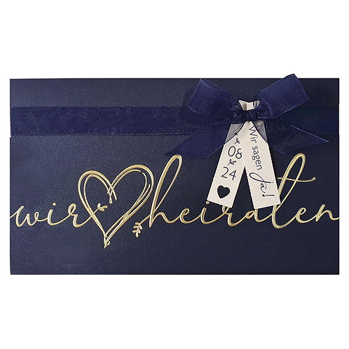 Luxeriöse blaue Hochzeitskarte Pocketfold – Belarto