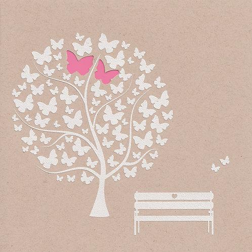 Hochzeitskarte mit Schmetterlingen und süßer Bank – Belarto