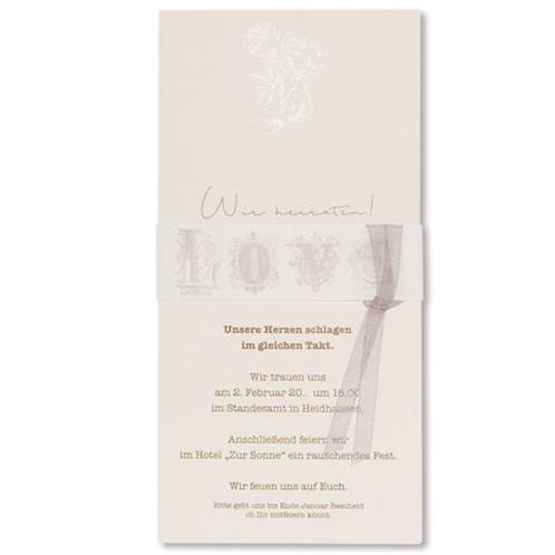 schlichte Hochzeitseinladung mit Banderole  – Fenzl