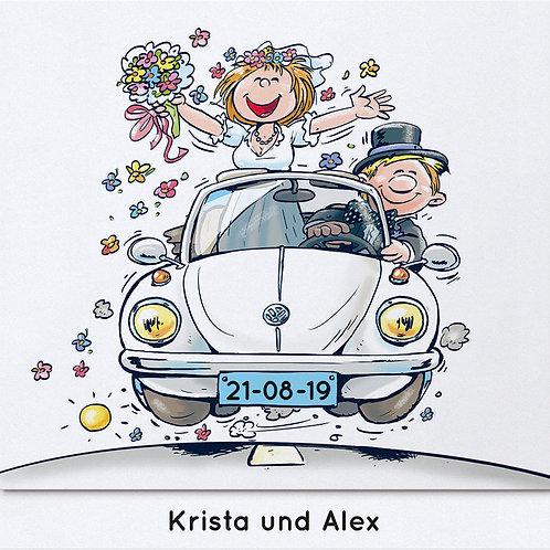 Brautpaar im VW-Käfer – Belarto