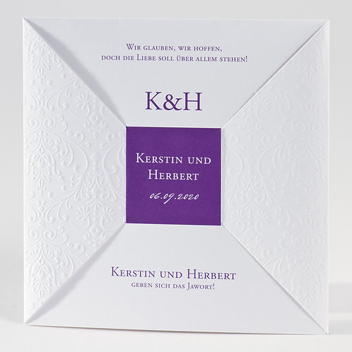Elegante weiße Hochzeitskarte mit Prägung – Büromac