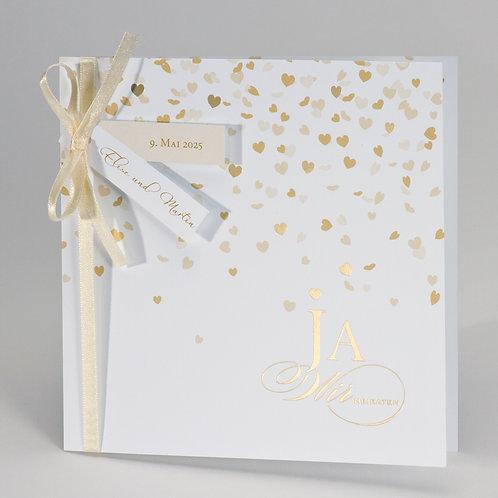 """""""Ja"""" Hochzeitskarte mit Herzregen in Goldfolie – Büromac"""