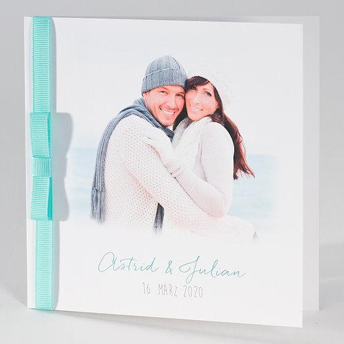 Weiße Hochzeitskarte mit mintgrünem Bändchen – Büromac