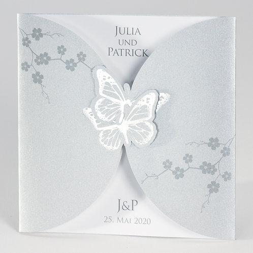 Silberfarbene Karte mit Schmetterlingen und weißem Einleger – Büromac