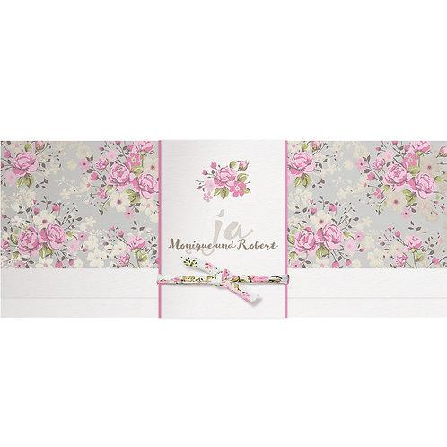 Blütendruck mit Banderole und passendem Stoffbändchen – Belarto