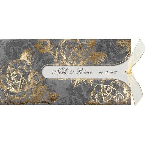 Luxuriöse Pochette-Hochzeitseinladung mit kreativem Ausschnitt – Belarto