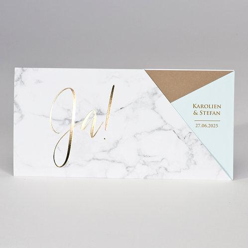 """Ja"" Hochzeitskarte im Marmor-Design & Mintgrün – Büromac"