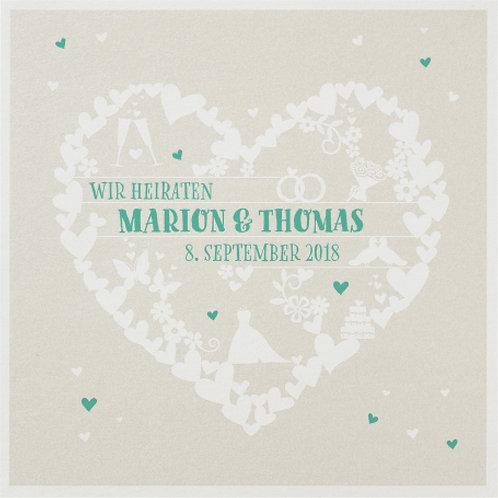 Hochzeitseinladung mit diversen Symbolen der Liebe  – Belarto